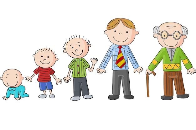 Envejecer personas, hombres a diferentes edades