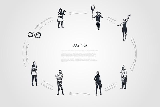 Envejecimiento de las diferentes etapas de la edad de la mujer desde la infancia.