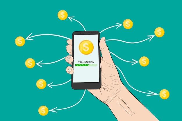 Enviar dinero con un teléfono inteligente. envío de dinero, banner conceptual.
