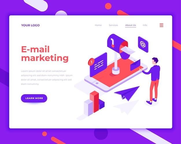 Envíe un correo electrónico a personas de marketing e interactúe con la ilustración vectorial isométrica del teléfono móvil