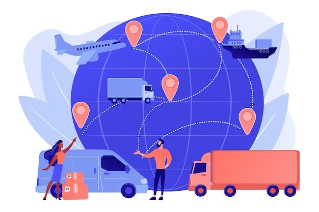 Envío internacional de mercancías de la tienda de internet