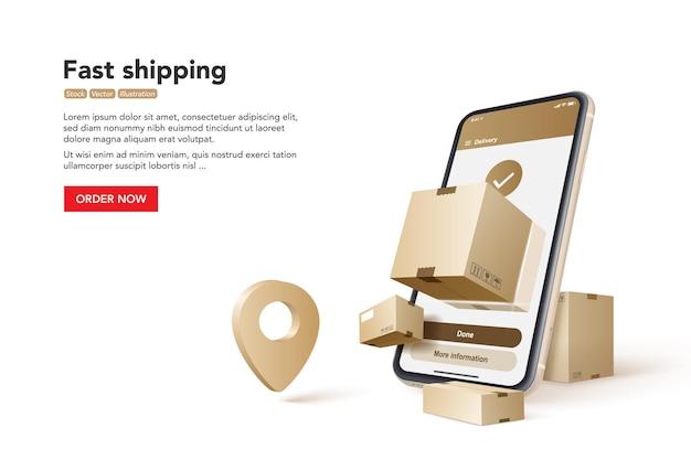 Envío rápido. concepto de servicio de entrega rápida.