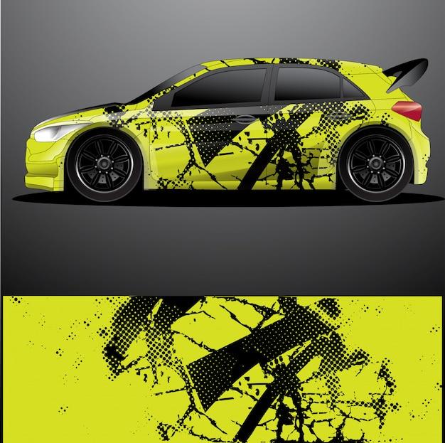 Envoltura gráfica de la etiqueta del coche de rally