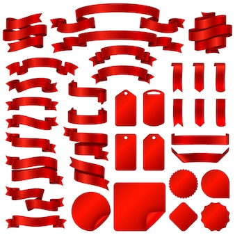 Envolviendo banderas de cinta roja y etiquetas de precio insignias vector conjunto.