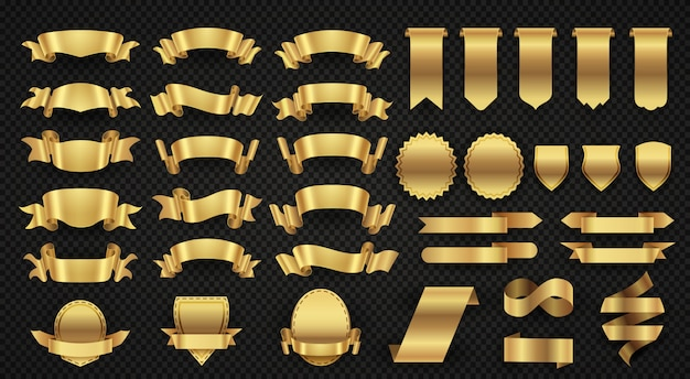 Envolviendo cintas de pancarta de oro.