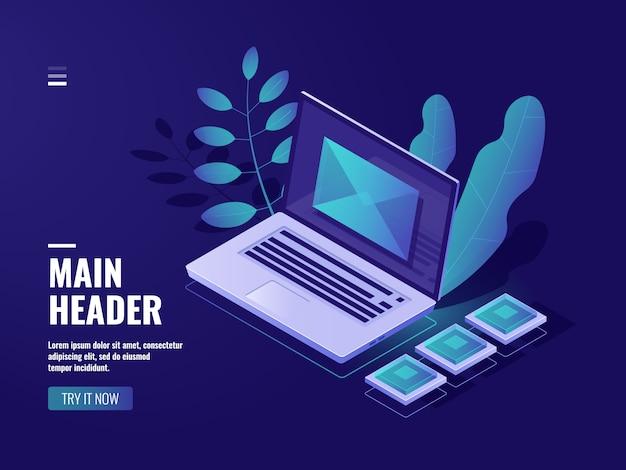 Envuelva en la pantalla una computadora portátil, concepto de retroalimentación, mensaje entrante, correo electrónico de notificación