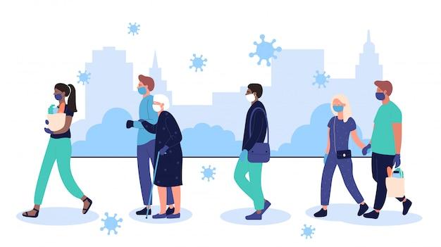Epidemia de coronavirus en ciudad urbana. personajes de personas con mascarillas protectoras caminando en la calle en la ilustración de la ciudad. prevenir la enfermedad del virus corona covid-19 ilustración propagación.