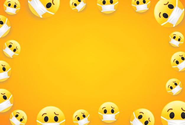 Epidemia. fondo de pantalla con emojis. marco de vector con espacio de copia para sitios web de redes sociales o pancartas