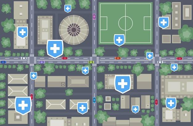 Epidemia mers-cov medical cross shield puntos indicados enfermedad propagación coronavirus infección wuhan 2019-ncov pandemia riesgo de salud mapa de la ciudad horizontal vista de ángulo superior