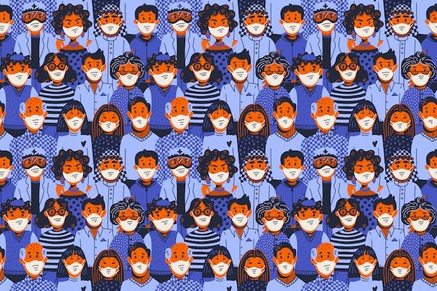 Epidemia de patrones sin fisuras. nuevo coronavirus covid-19, personas con mascarillas médicas. propagación del virus, pandemia.