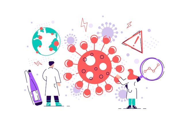Epidemiología. riesgo para la salud riesgo propagación laboratorio. coronavirus de chinise. covid-19. sars prevención de afecciones sanitarias y protección microscópica de virus contra bacterias. ilustración plana
