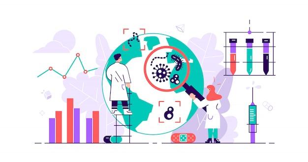 Epidemiología. riesgo para la salud riesgo propagación laboratorio. investigación de brotes de pandemias de bacterias diminutas. prevención de afecciones sanitarias y protección contra infecciones bacterianas microscópicas por virus. ilustración plana