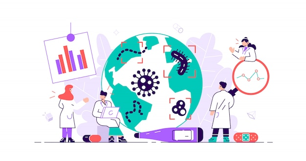 Epidemiología. riesgo para la salud riesgo propagación laboratorio. pequeñas bacterias brote de pandemia de investigación.