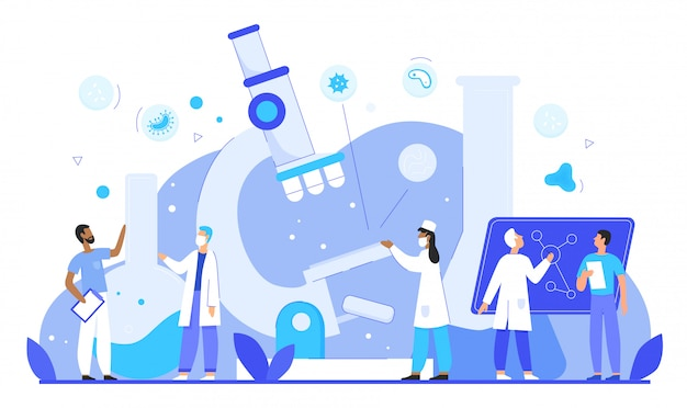 Los epidemiólogos investigan patógenos en el concepto de ilustración de vector de carácter plano de laboratorio