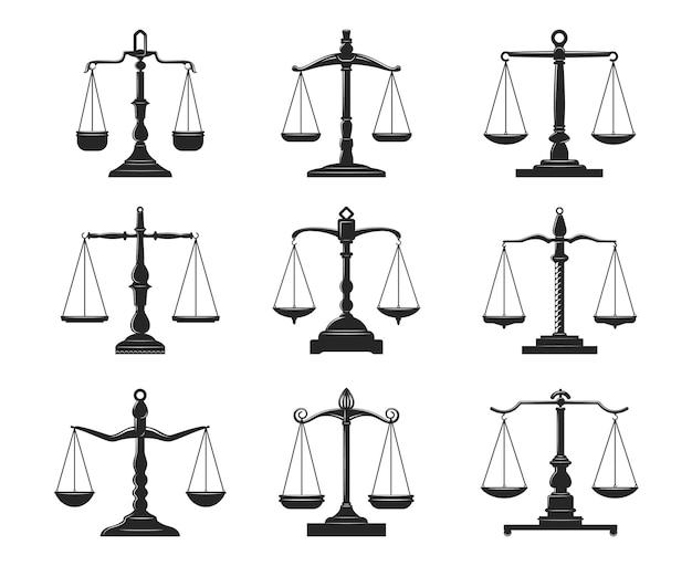 Equilibrar las escalas de la justicia y la ley iconos aislados
