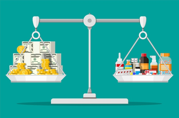 Equilibrar las escalas con pila de dinero y botellas de medicamentos y pastillas