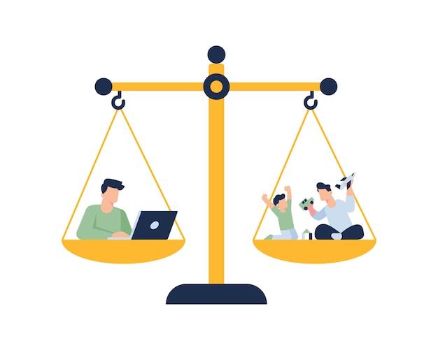 Equilibre la vida entre el trabajo y el concepto de ilustración familiar