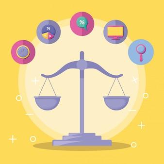 Equilibrio económico y financiero con conjunto de iconos.