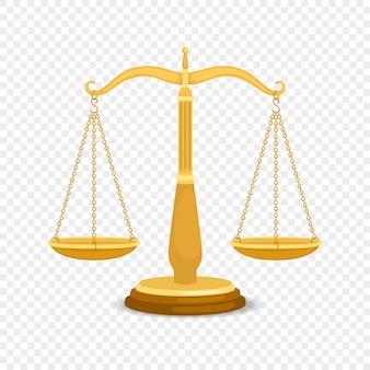 Equilibrio de escalas de metal. escalas retro de negocios de oro o justicia de oro