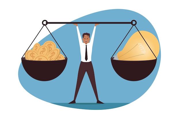Equilibrio de gestión, liderazgo, negocios. idea de cambio de moneda de dinero.