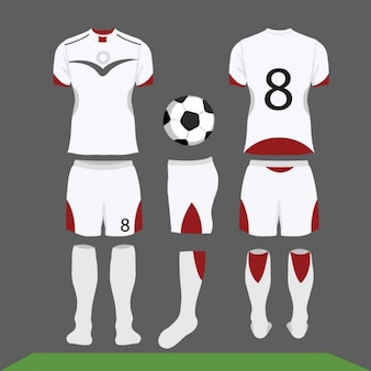 Equipación de fútbol blanca y roja