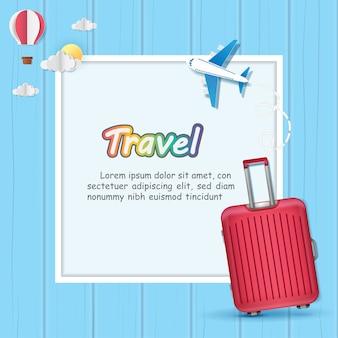Equipaje y avión viajan por todo el mundo.