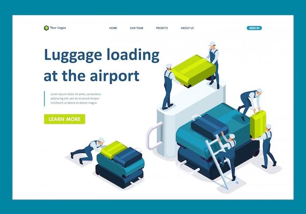 Equipaje de carga isométrica en el aeropuerto, transporte de equipaje en el avión página de aterrizaje