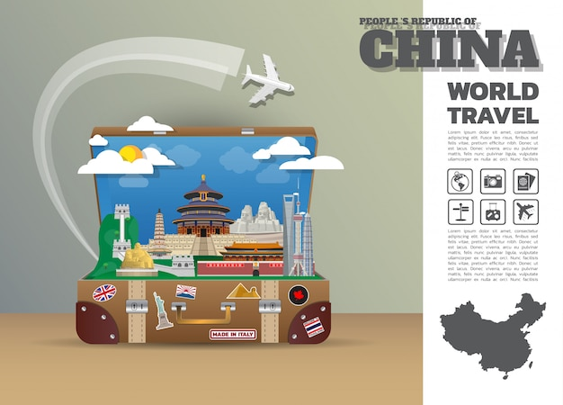 Equipaje de china landmark global travel and journey infographic