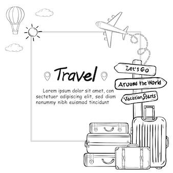 Equipaje y garabato dibujar a mano viajes alrededor del mundo concepto verano. control de avión en
