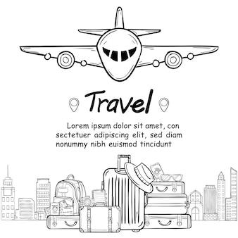 Equipaje y garabato dibujar a mano viajes alrededor del mundo concepto verano