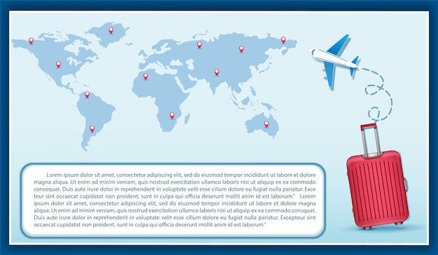 Equipaje mapa de avión en el punto concepto de viaje mapa del mundo