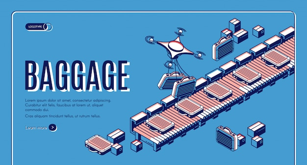 Equipaje en la página de aterrizaje isométrica del transportador del aeropuerto o plantilla de banner