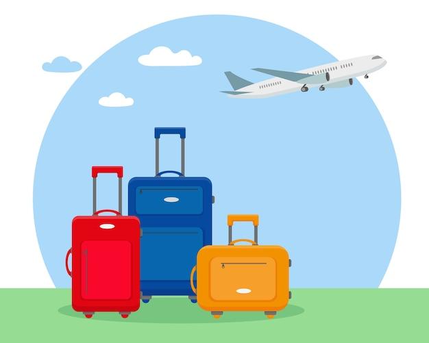 Equipaje de viaje brillante i y avión en el cielo