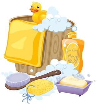 Equipamiento de baño en color amarillo.