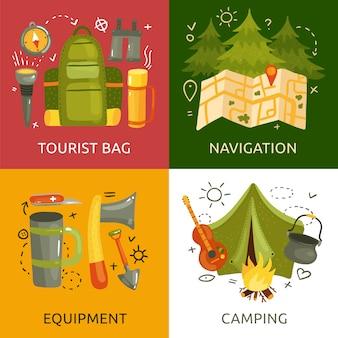Equipamiento para la colección de banners de camping.