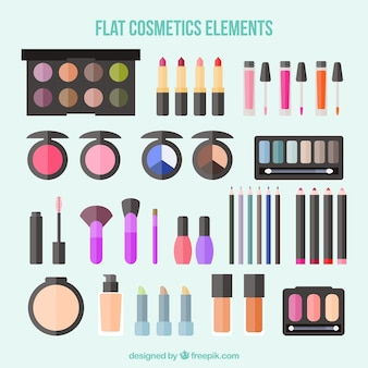 Equipamiento de cosméticos en diseño plano