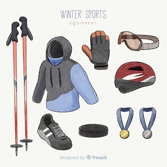 Equipamiento de deporte de invierno en diseño plano