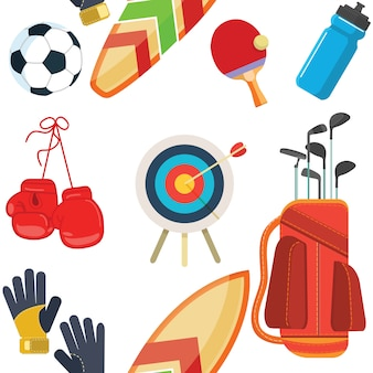 Equipamiento deportivo, conjunto de objetos planos, iconos, recreación y ocio