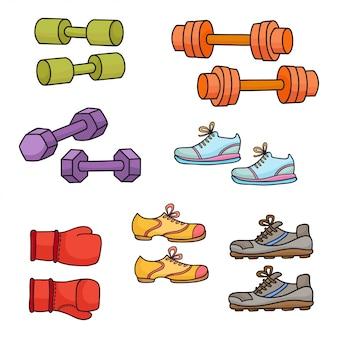 Equipamiento deportivo, elementos de estilo de vida saludable aislados en blanco