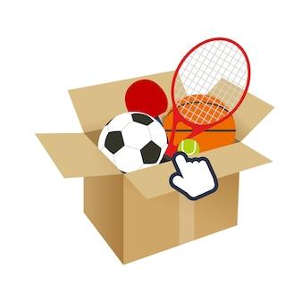 Equipamiento deportivo en caja de compras en línea y cursor
