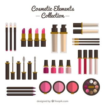 Equipamiento con elementos cosméticos en diseño plano