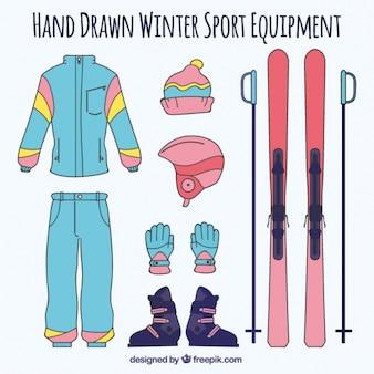 Equipamiento de esquí dibujado a mano