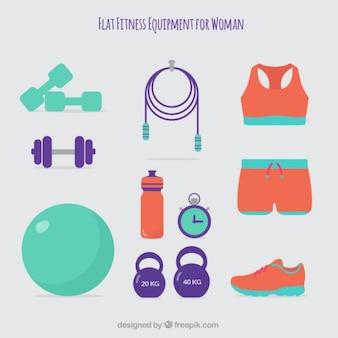 Equipamiento de fitness bonito para mujer en estilo plano
