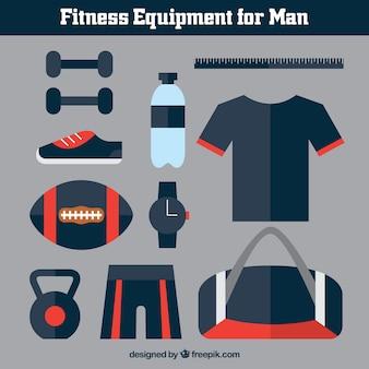 Equipamiento de fitness para hombre en un estilo plano