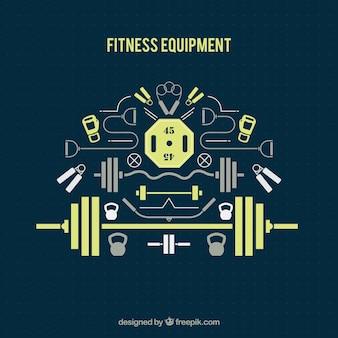 Equipamiento de fitness plano