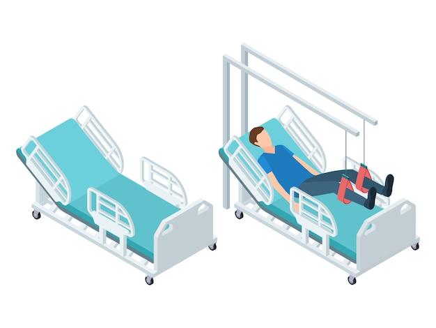 Equipamiento médico isométrico. equipo de rehabilitación de fisioterapia gratis y con ilustración de vector de paciente