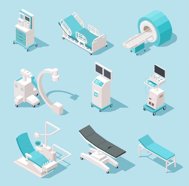 Equipamiento médico isométrico. herramientas de diagnóstico hospitalario. conjunto de máquinas 3d de tecnología de salud