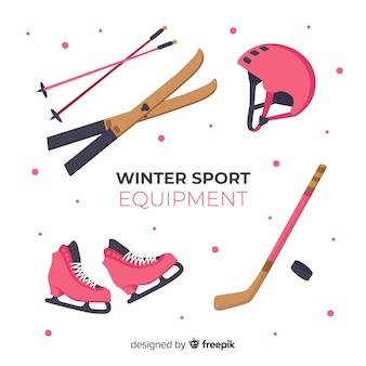Equipamiento moderno de deportes de invierno con diseño plano