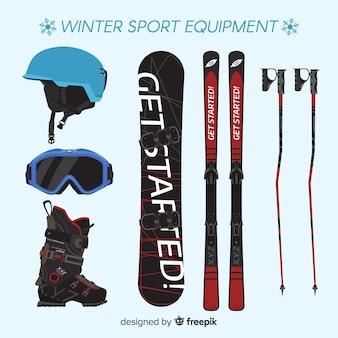 Equipamiento moderno de deportes de invierno