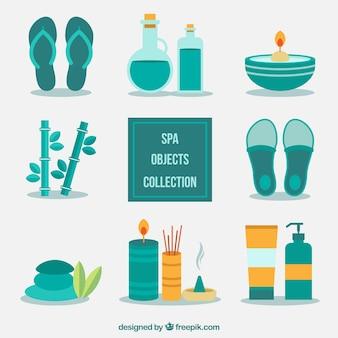 Equipamiento de spa en diseño plano